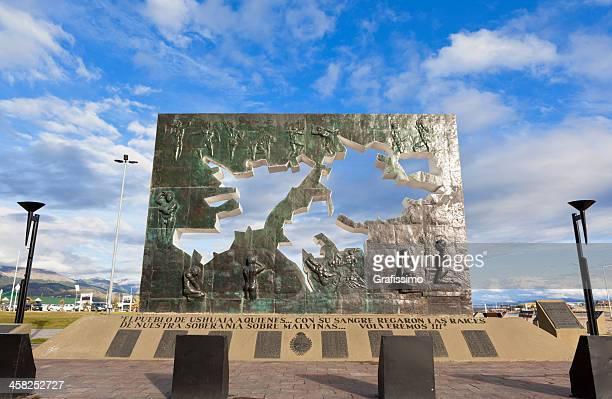 argentina ushuaia memorial of falkland war - falklands war stock pictures, royalty-free photos & images