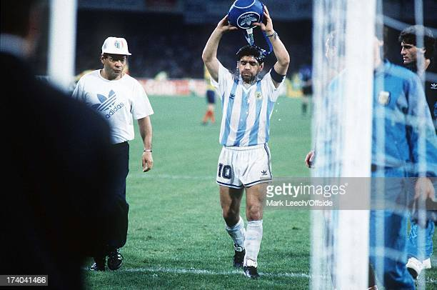 Argentina v Romania World Cup 1990 Diego Maradona refreshes himself