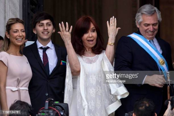 Argentina Vice Presidentelect Cristina Fernandez gestures to the crowd after the Presidential Inauguration at National Congress on December 10 2019...