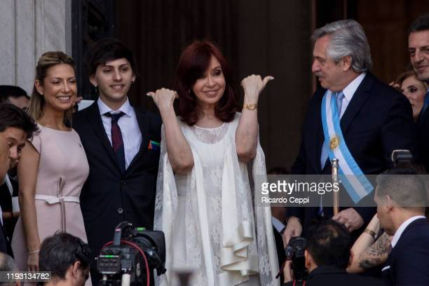 Argentina Vice President-elect Cristina Fernandez gestures to the crowd after the Presidential Inauguration at National Congress on December 10, 2019...