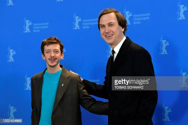 Argentina's actor Nahuel Perez Biscayart and German actor Lars Eidinger pose during a photocall for the film Persian lessons screened in the...