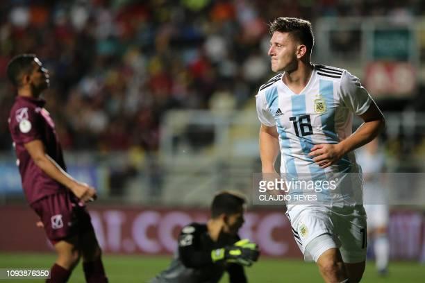 Argentina's Adolfo Gaich celebrates after scoring against Venezuela during their South American U20 football match at El Teniente stadium in Rancagua...