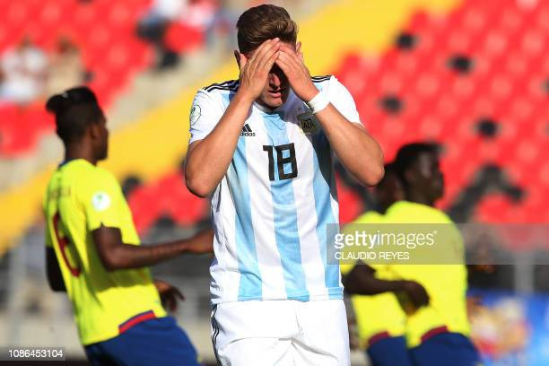 Argentina's Adolfo Gaich reacts during their South American U20 football match against Ecuador at Fiscal stadium in Talca Chile on January 22 2019