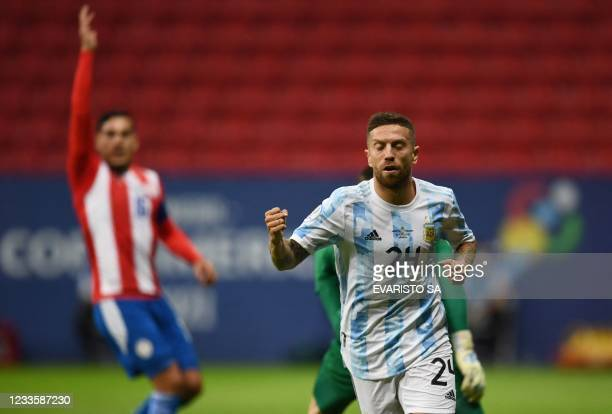 Argentina's Alejandro Gomez celebrates after scoring against Paraguay during their Conmebol Copa America 2021 football tournament group phase match...