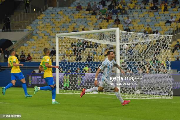 Argentina's Angel Di Maria celebrates after scoring against Brazil during their Conmebol 2021 Copa America football tournament final match at...