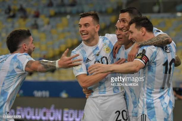 Argentina's Angel Di Maria celebrates with teammates Rodrigo De Paul , Giovani Lo Celso , Lautaro Martinez and Lionel Messi after scoring against...