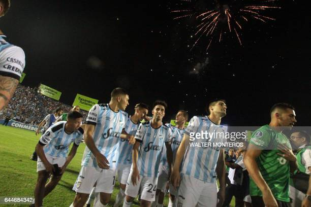 Argentina's Atletico Tucuman players celebrate their victory over Colombia's Junior of Barranquilla in their Copa Libertadores football mach at the...