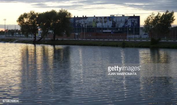 Argentina's base camp is seen at sunset in Bronnitsy near Moscow Russia on June 9 2018 Argentina arrives on June 9 to take part in the FIFA World Cup...