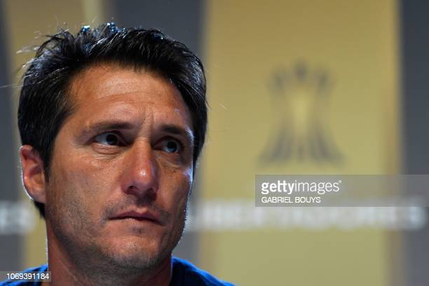 Argentina's Boca Juniors coach Guillermo Barros Schelotto speaks during a press conference at the Spanish Football Federation headquarters in Las...