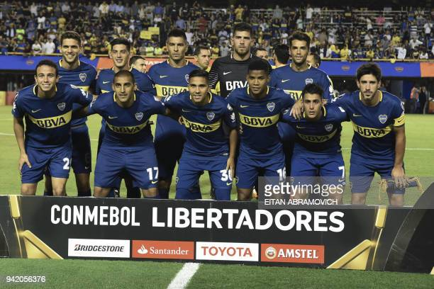 Argentina's Boca Juniors footballer pose before the start of their 2018 Copa Libertadores group H football match against Colombias Atletico Junior at...