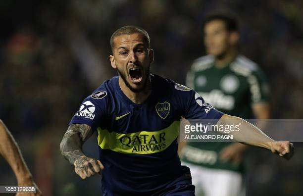 Argentina's Boca Juniors forward Dario Benedetto celebrates after scoring a goal against Brazil's Palmeiras during the Copa Libertadores 2018 first...