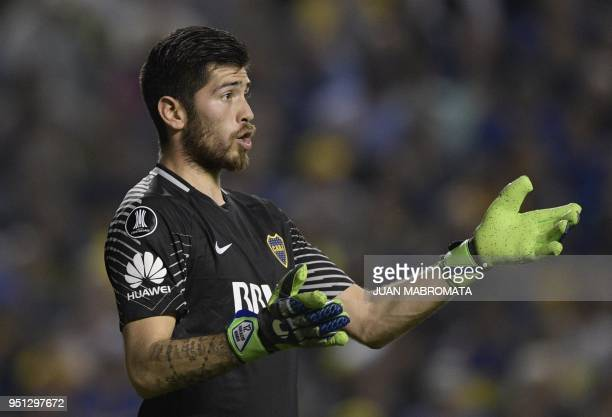 Argentina's Boca Juniors goalkeeper Agustin Rossi gestures during the Copa Libertadores 2018 group H football match against Brazil's Palmeiras at the...