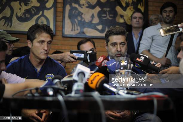 Argentina's Boca Juniors head coach Guillermo Barros Schelotto and Boca Juniors' President Daniel Angelici deliver a press conference after the...