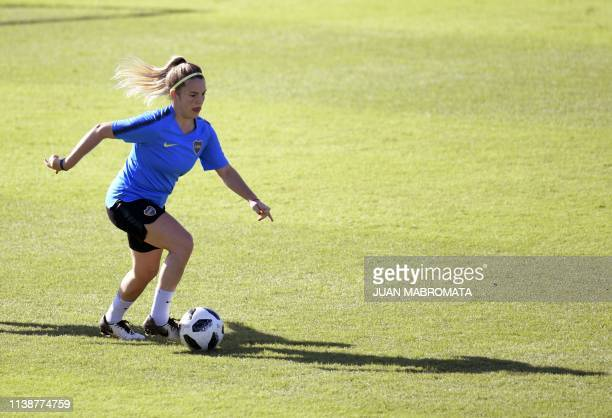 Argentina's Boca Juniors midfielder Camila Gomez controls the ball during a training session in Buenos Aires on March 27 2019 Women's football in...