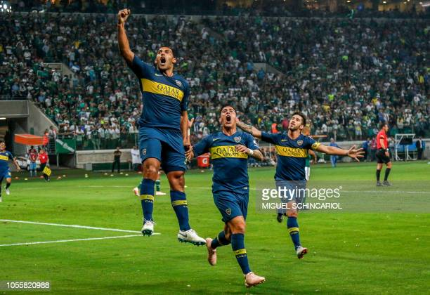 TOPSHOT Argentina's Boca Juniors Ramon Abila celebrates his goal scored against Brazil's Palmeiras during their 2018 Copa Libertadores semifinal...