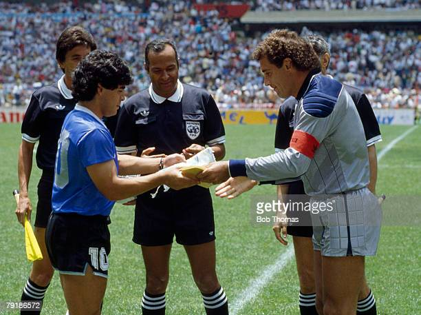 Argentina's captain Diego Maradona exchanges pennants with England captain Peter Shilton prior to their World Cup Quarter Final match Mexico City...