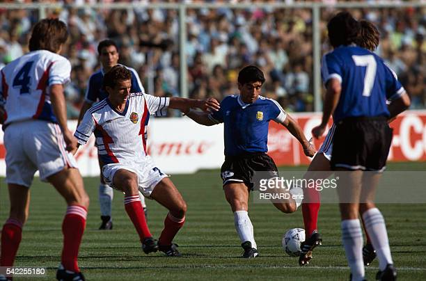 Argentina's captain Diego Maradona in action during a quarter-final match of the 1990 FIFA World Cup against Yugoslavia.