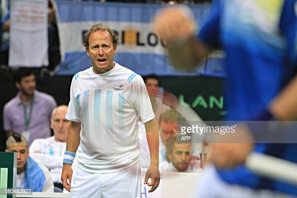 Argentina's captain Martin Jaite reacts during the first tennis match at the Davis Cup semifinals Argentina vs Czech Republic on September 13 2013 in...
