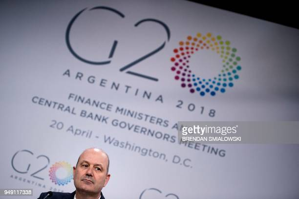 Argentina's Central Bank Governor Federico Sturzenegger listens during a G20 press conference during the 2018 IMF/World Bank spring meetings April 20...