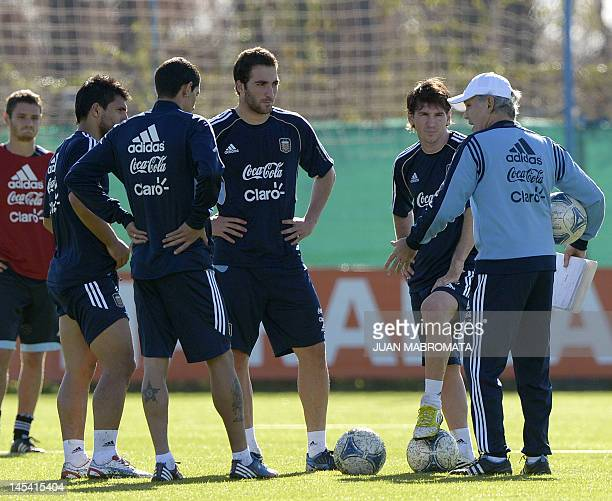 Argentina's coach Alejandro Sabella talks to footballers Sergio Aguero Angel Di Maria Gonzalo Higuain and Lionel Messi during a training session of...