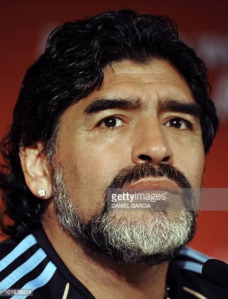 Argentina's coach Diego Maradona listens during a press conference at Loftus Versveld Stadium conference room in Pretoria on June 11 2010 ahead of...