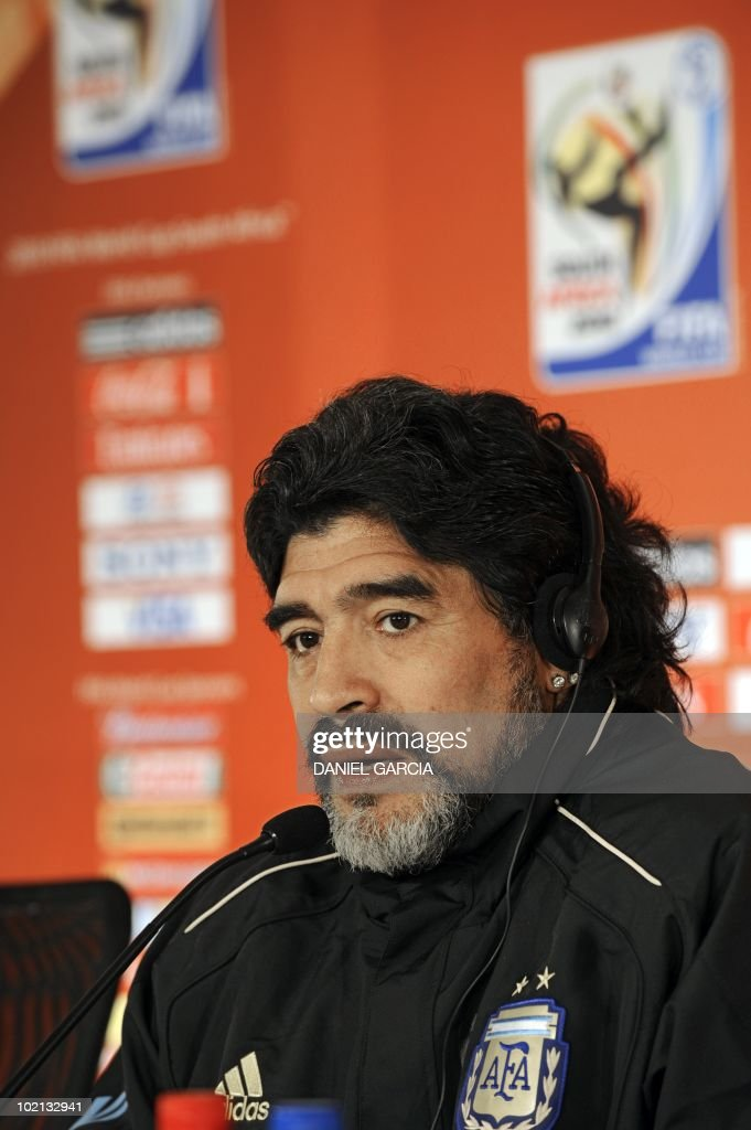 Argentina's coach Diego Maradona speaks during a press conference at Loftus Versveld stadium in Pretoria on June 16, 2010 during the 2010 World Cup football tournament in South Africa. Argentina will face South Korea on June 17, 2010 at Soccer City stadium in Soweto, suburban Johannesburg.