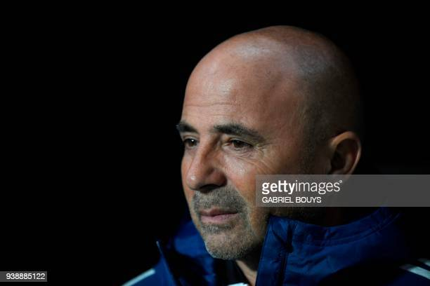 Argentina's coach Jorge Sampaoli attends a friendly football match between Spain and Argentina at the Wanda Metropolitano Stadium in Madrid on March...
