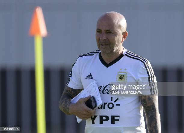 Argentina's coach Jorge Sampaoli gestures during a training session at the team's base camp in Bronnitsy near Moscow Russia on June 27 2018 ahead of...