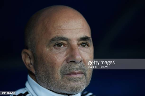 Argentina's coach Jorge Sampaoli looks on during the Russia 2018 World Cup Group D football match between Nigeria and Argentina at the Saint...