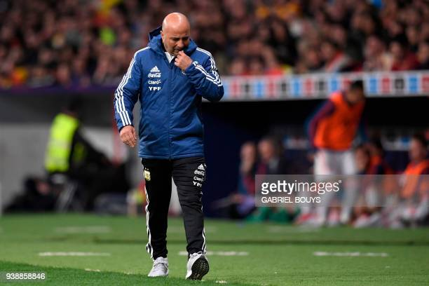 Argentina's coach Jorge Sampaoli reacts during a friendly football match between Spain and Argentina at the Wanda Metropolitano Stadium in Madrid on...