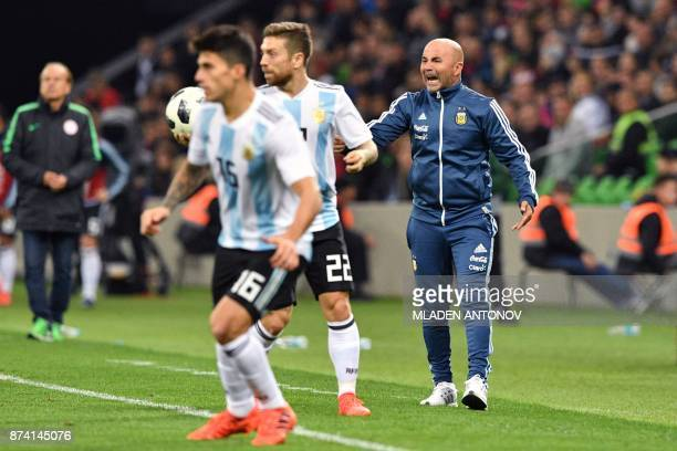 Argentina's coach Jorge Sampaoli shouts instructions to his players during an international friendly football match between Argentina and Nigeria in...