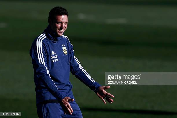 Argentina's coach Lionel Scaloni gestures during a training session at Real Madrid's training facilities of Valdebebas in Madrid on March 20 ahead of...