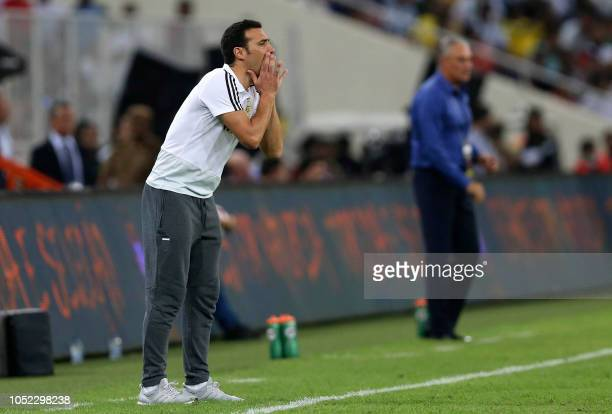 Argentina's coach Lionel Scaloni L0 gives his instructions during the friendly football match Brazil vs Argentina at the King Abdullah Sport City...