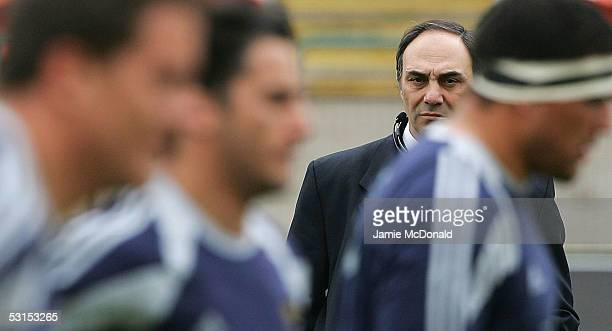 Argentina's coach Marcelo Loffreda looks on during the Churchill Cup Final between England and Argentina at the Commonwealth Stadium on June 26 2005...