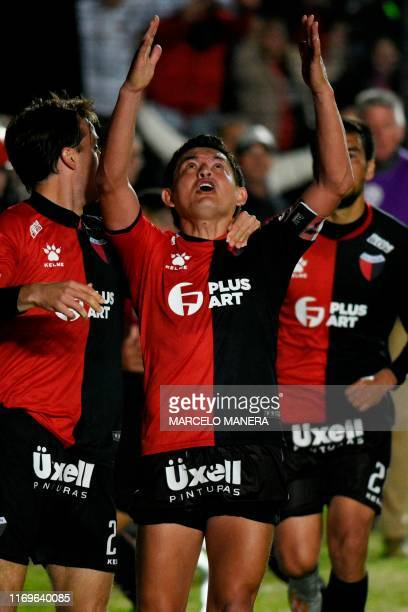 Argentina's Colon de Santa Fe Luis Rodriguez celebrates after scoring against Brazil's Atletico Mineiro during their Copa Sudamericana semifinal...