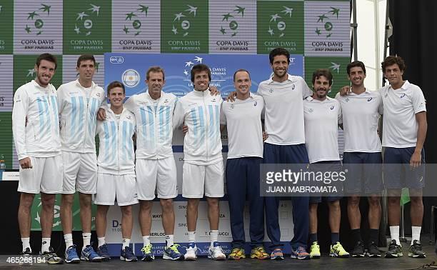 Argentina's Copa Davis team tennis players Leonardo Mayer Federico Delbonis Diego Schwartzman captain Daniel Orsanic and player Carlos Berlocq pose...