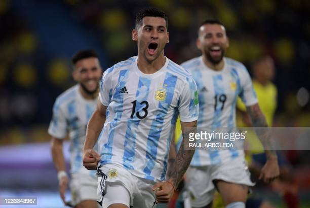 Argentina's Cristian Romero celebrates after scoring against Colombia during their South American qualification football match for the FIFA World Cup...