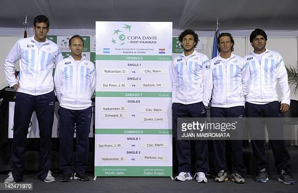 Argentina's Davis Cup team Juan Martin Del Potro captain Martin Jaite Juan Monaco David Nalbandian and Eduardo Schwank pose for pictures during the...