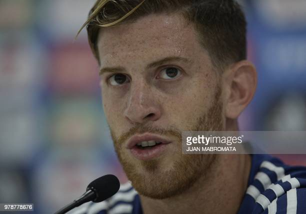 Argentina's defender Cristian Ansaldi talks to the media during a press conference at the team's base camp in Bronnitsy near Moscow on June 19 2018...