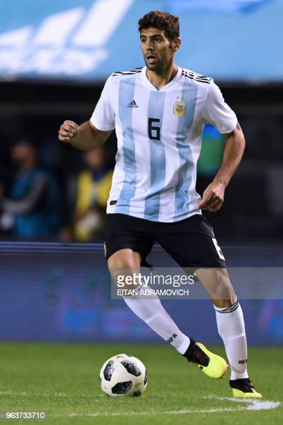 Argentina's defender Federico Fazio is pictured during the international friendly football match against Haiti at Boca Juniors' stadium La Bombonera...