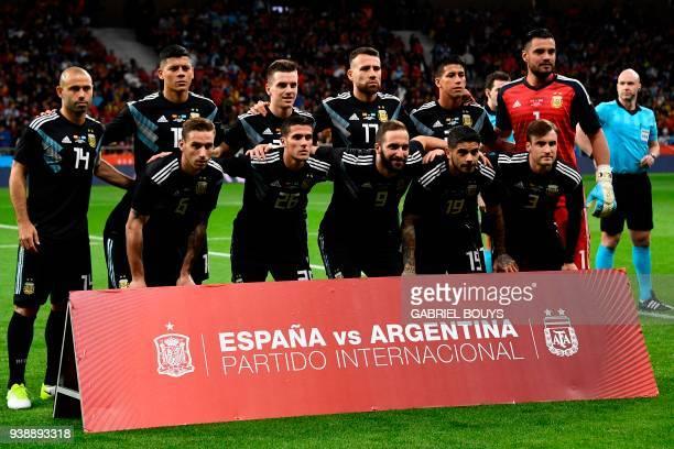 Argentina's defender Javier Mascherano Argentina's defender Marcos Rojo Argentina's midfielder Giovani Lo Celso Argentina's defender Nicolas Otamendi...