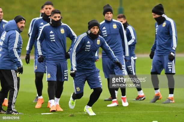 Argentina's defender Javier Mascherano takes part in a team training session at the City Academy training complex in Manchester north west England on...