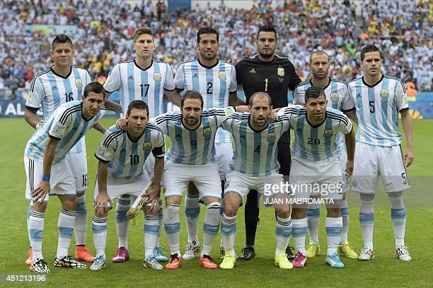 Argentina's defender Marcos Rojo defender Federico Fernandez defender Ezequiel Garay goalkeeper Sergio Romero midfielder Javier Mascherano and...