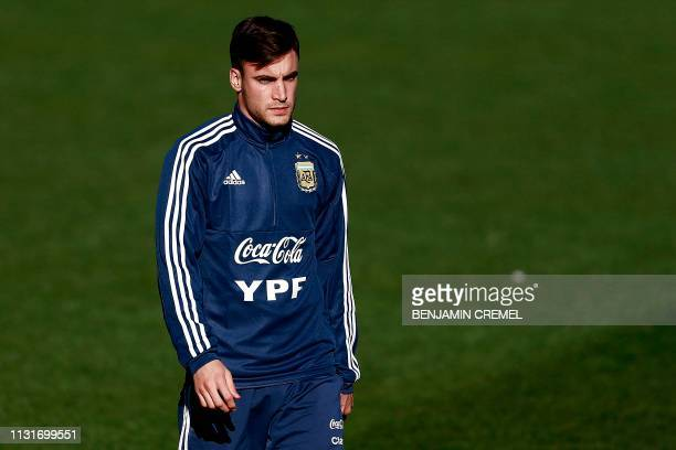 Argentina's defender Nicolas Tagliafico attends a training session at Real Madrid's training facilities of Valdebebas in Madrid on March 20 ahead of...
