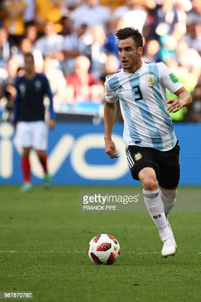 Argentina's defender Nicolas Tagliafico drives the ball during the Russia 2018 World Cup round of 16 football match between France and Argentina at...