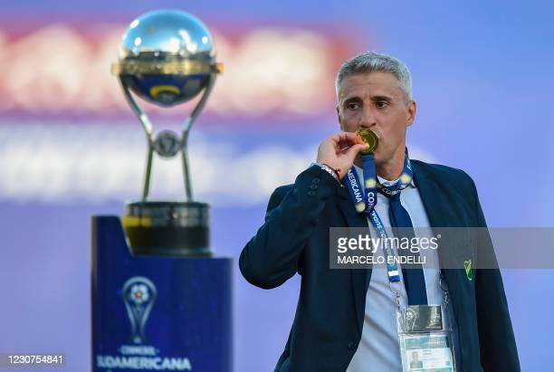 Argentina's Defensa y Justicia coach Hernan Crespo celebrates after winning the Copa Sudamericana final football match by defeating Argentina's Lanus...
