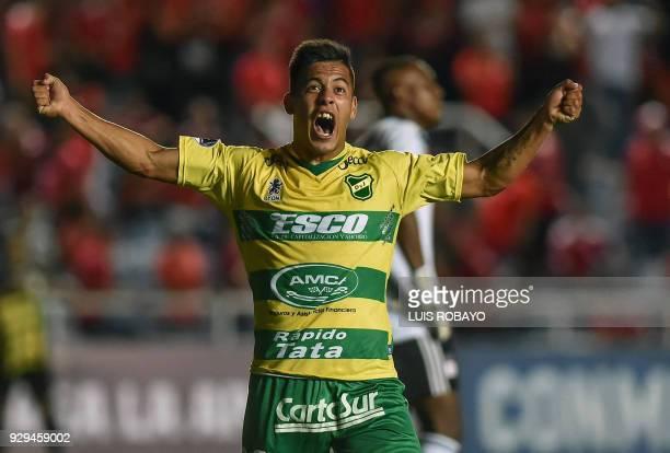 Argentina's Defensa y Justicia player Nicolas Fernandez celebrates after scoring against Colombia's America de Cali, during their Copa Sudamericana...