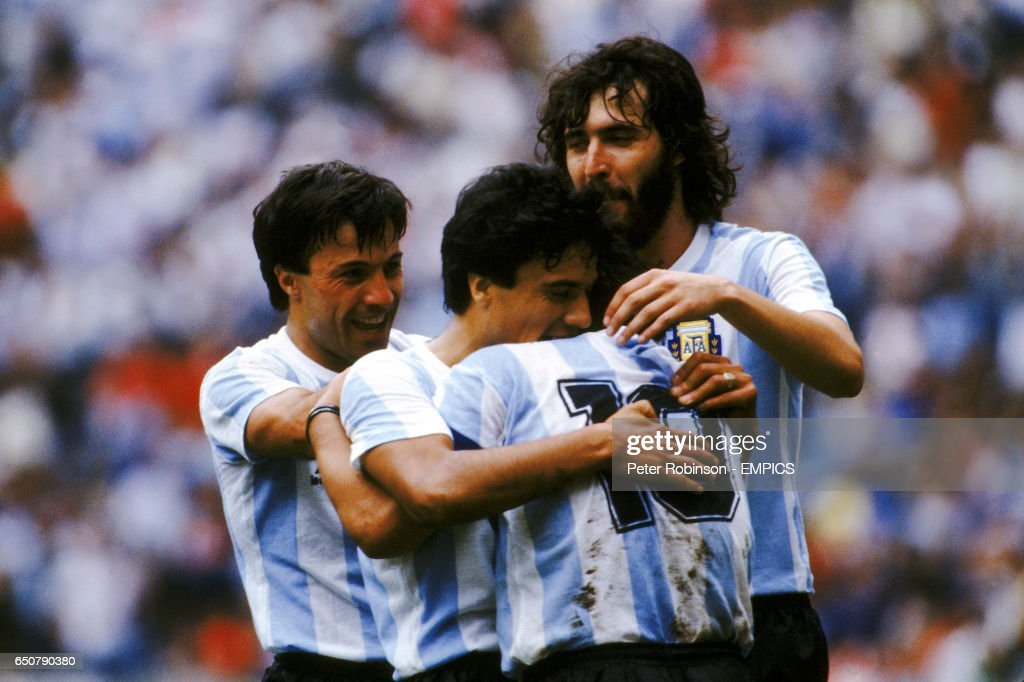 Soccer - World Cup Mexico 86 - Semi Final - Argentina v Belgium : News Photo