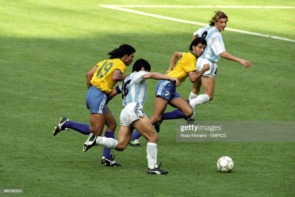 Soccer - World Cup Italia 1990 - Second Round - Argentina v Brazil - Stadio Delle Alpi : News Photo