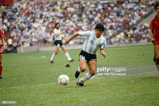 Argentina's Diego Maradona in action during the 1986 World Cup semifinal match against Belgium Argentina defeated Belgium 20